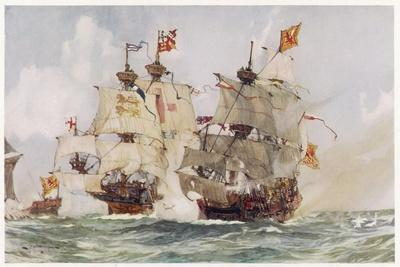Thomas and Edward Howard are Sent by Henry VIII to Deal with the Scottish Captain Andrew Barton-Charles Dixon-Stretched Canvas Print