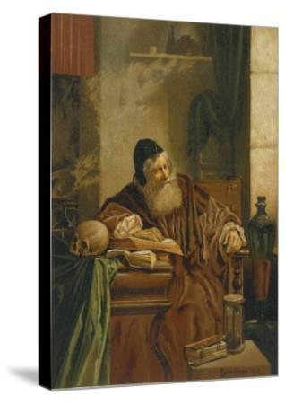 Faust at His Studies Muses on the Power of Magic- Comeleran-Stretched Canvas Print