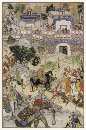 Mughal Emperor Akbar Enters Surat Gujerat after an Astonishingly Rapid 11-Day Campaign-Farrukh Beg-Stretched Canvas Print
