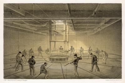 """The Cable Passes out from the Hold of the """"Great Eastern"""" onto the Deck-Robert Dudley-Stretched Canvas Print"""