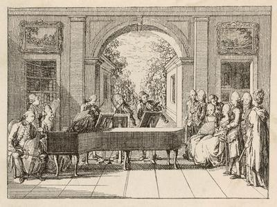 Five Instrumental Performers and a Singer Entertain an Aristocratic Audience in a Stately Home-Daniel Chodowiecki-Stretched Canvas Print