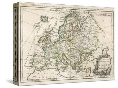 Map of Europe-J^ Gibson-Stretched Canvas Print