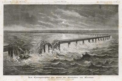 Tay Bridge Bridge Collapses During a Storm with Disastrous Consequences-Henri Meyer-Stretched Canvas Print