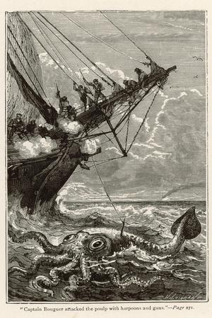 20,000 Leagues Under the Sea: Attacking a Giant Squid-Hildebrand-Stretched Canvas Print
