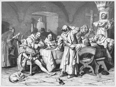 German Monks Entertain a Visitor with the Wine of the Cloister-W. Grubner-Stretched Canvas Print