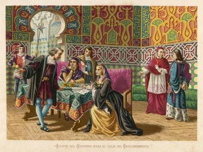 Columbus Agrees Terms with King Ferdinand and Queen Isabella- Planetta-Stretched Canvas Print