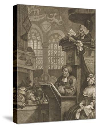 The Sleeping Congregation a Preacher is Reading His Sermon to a Sleeping Congregation-William Hogarth-Stretched Canvas Print