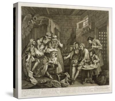 Prisoners in Newgate Prison-William Hogarth-Stretched Canvas Print
