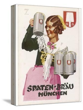 Waitress Brings Four Seidels of Frothy Spaten-Brau-Ludwig Hohlwein-Stretched Canvas Print