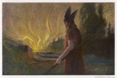 Wotans Abschied Wotan's Farewell to Brunnhilde-Hermann Hendrich-Stretched Canvas Print