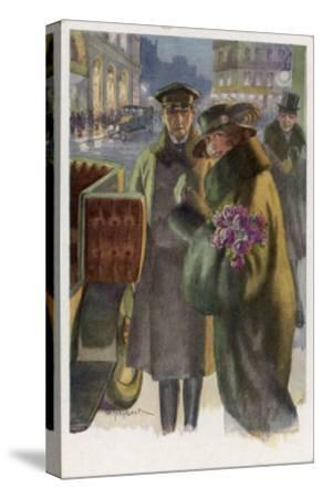 An Elegant Viennese Lady Enters Her Chauffeur-Driven Car at Night Clutching a Bunch of Roses-H. Schubert-Stretched Canvas Print