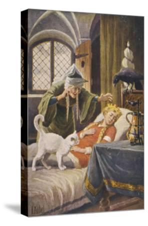 Beauty, and Everyone Else in the Palace Human or Animal, Fall Asleep Under the Witch's Spell-O. Kubel-Stretched Canvas Print