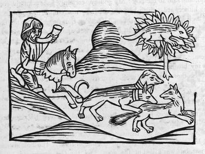 """""""Of the Fox and the Cat"""" Illustration to Caxton's 1484 Edition of Aesop's Fables--Stretched Canvas Print"""