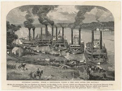 Federal Steamboats at Pittsburgh Landing are Used by Major General Grant as His Headquarters--Stretched Canvas Print