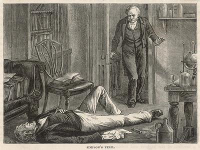J.Y. Simpson Experiments with Chloroform and is Discovered by a Colleague--Stretched Canvas Print