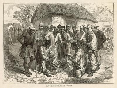 Crowd Gathers to Watch Two People Play the West African Game of Wharri--Stretched Canvas Print