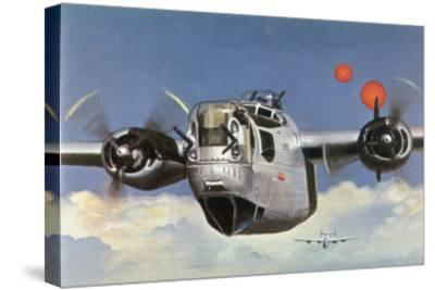 """During World War Two an American B-24 """"Liberator"""" Encounters """"Foo Fighters"""" During a Bombing Raid-Brian Withers-Stretched Canvas Print"""