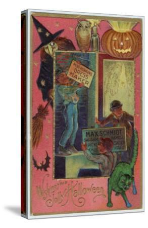 Hallowe'en Witch Offers Suitable Costume a Shopkeeper Provides Appropriate Eats--Stretched Canvas Print