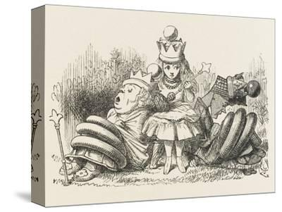 Alice with the Sleeping Queens-John Tenniel-Stretched Canvas Print