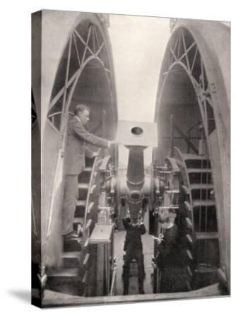 Greenwich Observatory the Astronomer Royal Mr. Frank Dyson Taking a Reading with an Altazimuth--Stretched Canvas Print