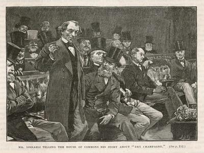 Tory Prime Minister Benjamin Disraeli Speaks During a Debate on Irish Home Rule--Stretched Canvas Print
