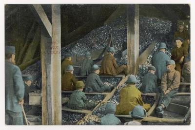 Boys Picking Slate out of Mined Coal in an American Mine--Stretched Canvas Print