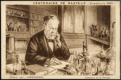 Louis Pasteur French Chemist and Microbiologist in His Laboratory-H. Wagner-Stretched Canvas Print