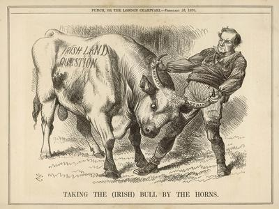 William Gladstone Taking the (Irish) Bull by the Horns-John Tenniel-Stretched Canvas Print