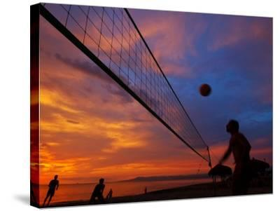 Sunset Volleyball on Playa De Los Muertos (Beach of the Dead), Puerto Vallarta, Mexico-Anthony Plummer-Stretched Canvas Print