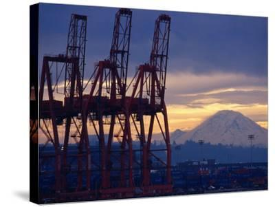 Elliot Bay Industrial Waterfront, Seattle, Washington, USA-Lawrence Worcester-Stretched Canvas Print