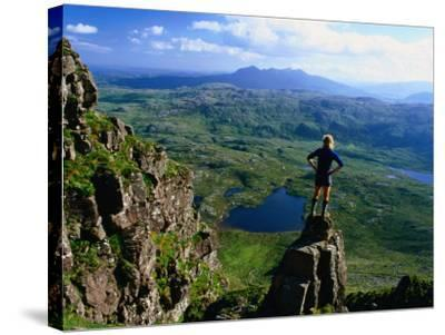 Walker Looking Towards Suilven from Stac Pollaigh, Scotland-Grant Dixon-Stretched Canvas Print
