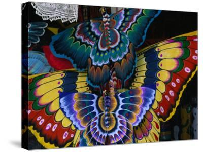 Hand-Crafted Butterfly Kites for Sale, Gianyar, Indonesia-Paul Beinssen-Stretched Canvas Print