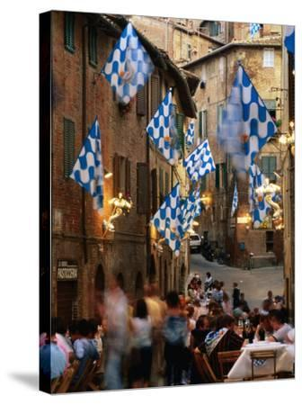 Pre-Palio Banquet for Members of the Onda (Wave) Contrada, Siena, Tuscany, Italy-David Tomlinson-Stretched Canvas Print