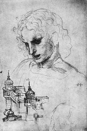 Study of a Head and of an Architectural Structure, Windsor Castle-Leonardo da Vinci-Stretched Canvas Print
