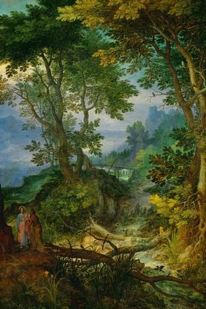 Mountain Landscape with the Temptation of Christ, 1605-1610-Jan Brueghel the Elder-Stretched Canvas Print