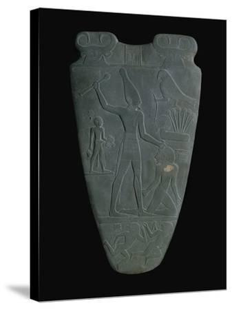 The Narmer Palette (Reverse), a Late Pre-Dynastic Schist Ceremonial Palette--Stretched Canvas Print