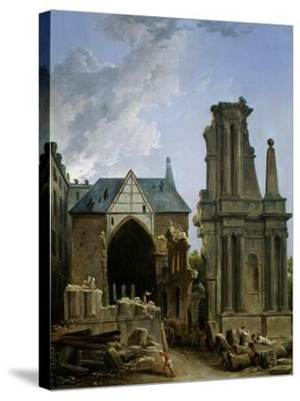 The Demolition of the Church of the Feuillants, 1805-Hubert Robert-Stretched Canvas Print