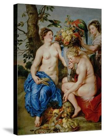 Ceres and Two Nymphs, Animals and Fruit by Snyders, Painted Between 1620-28-Peter Paul Rubens-Stretched Canvas Print