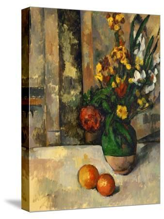 Vase and Apples-Paul C?zanne-Stretched Canvas Print