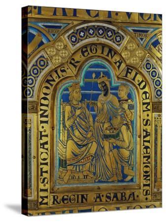 King Solomon and the Queen of Sheba, Verdun Altar, Begun 1181, Enamel-Nicholas of Verdun-Stretched Canvas Print