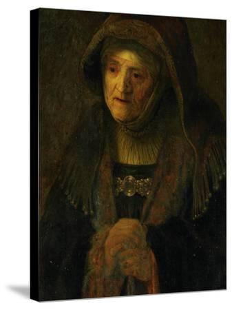 The Artist's Mother, as Prophetess Hannah-Rembrandt van Rijn-Stretched Canvas Print