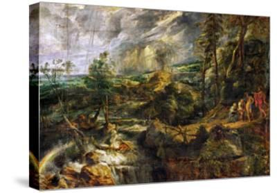 Landscape in a Thunderstorm, Philemon and Baucis, Jupiter and Mercury, circa 1620-Peter Paul Rubens-Stretched Canvas Print