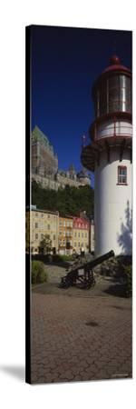 Canyon in Front of a Lighthouse, St. Lawrence River, Lower Town, Quebec City, Quebec, Canada--Stretched Canvas Print
