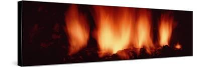 Fire in Fireplace--Stretched Canvas Print
