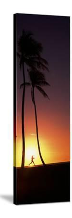 Silhouette of a Woman Running on the Beach, Magic Island, Hawaii, USA--Stretched Canvas Print