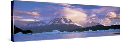 Cloudy Sky over Mountains, Lago Grey, Torres del Paine National Park, Patagonia, Chile--Stretched Canvas Print