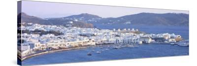 Town on the Waterfront, Mykonos Harbor, Cyclades Islands, Greece--Stretched Canvas Print