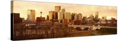 Buildings at the Waterfront, Bow River, Calgary, Alberta, Canada--Stretched Canvas Print