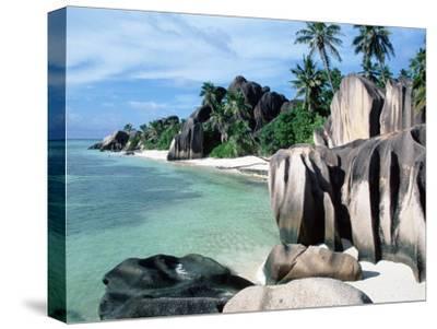 Rocky Coast and Beach, La Digue, Anse Source D'Argent, Seychelles-Reinhard-Stretched Canvas Print