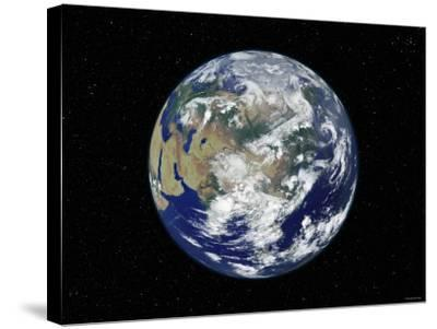 Fully Lit Earth Centered on Asia-Stocktrek Images-Stretched Canvas Print